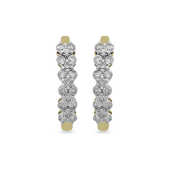 1/2 CT. T.W. Genuine White Diamond 10K Gold 11mm Hoop Earrings
