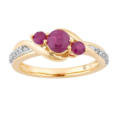Womens 1/10 CT. T.W. Lead Glass-Filled Red Ruby 10K Gold Cocktail Ring