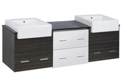 73.5-in. W Wall Mount White-Dawn Grey Vanity Set For 3H8-in. Drilling Black Galaxy Top