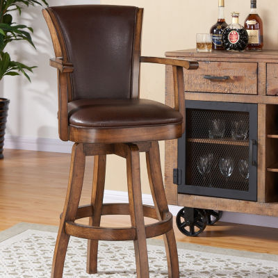 Armen Living Raleigh Arm Swivel Wood Barstool in Faux Leather and Chestnut Finish