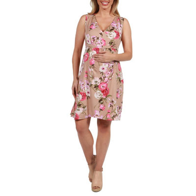 24Seven Comfort Apparel Lauren Floral Empire Waist Maternity Dress