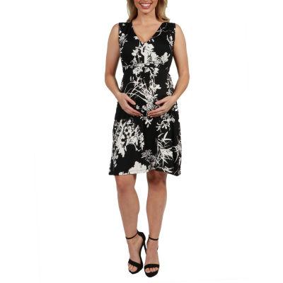 24Seven Comfort Apparel Marilyn Sleeveless Maternity Dress - Plus