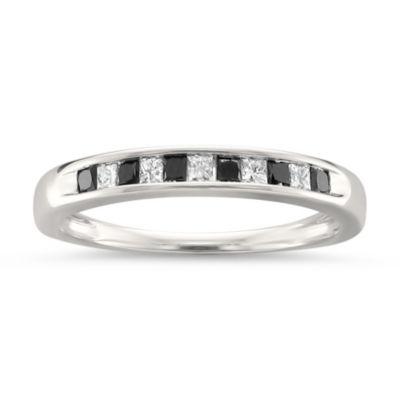 Womens 1/4 CT. T.W. White & Color Enhanced Black Diamond 14K Gold Wedding Band