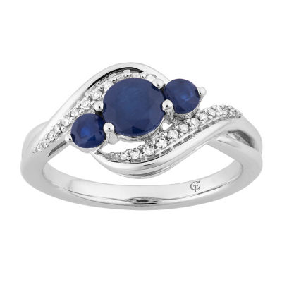 Womens 1/10 CT. T.W. Genuine Blue Sapphire 10K White Gold Cocktail Ring