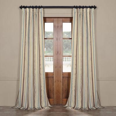 Exclusive Fabrics & Furnishing Woodcroft Luxury Faux Silk Stripe Rod-Pocket/Back-Tab Curtain Panel