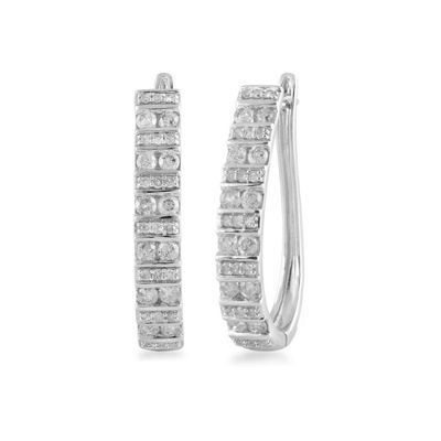1 CT. T.W. Genuine White Diamond 10K White Gold 21mm Hoop Earrings