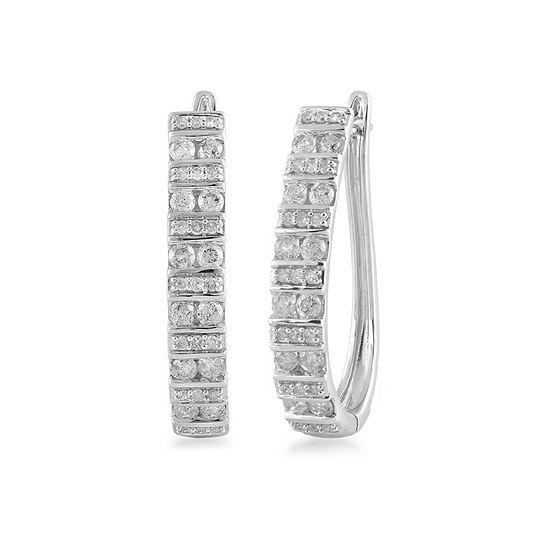1 CT. T.W. Genuine White Diamond 10K White Gold 21mm Hoop Earrings