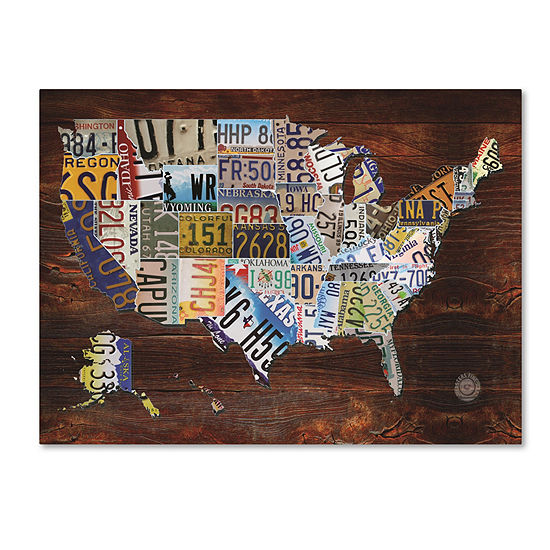 Trademark Fine Art Masters Fine Art USA License Plate Map on  Wood Giclee Canvas Art