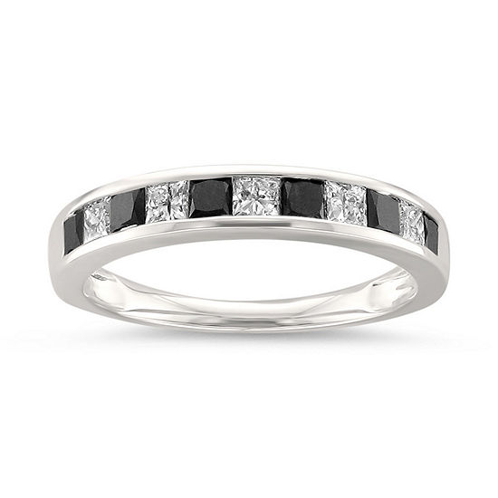 Womens 1 CT. T.W. White & Color Enhanced Black Diamond 14K Gold Wedding Band