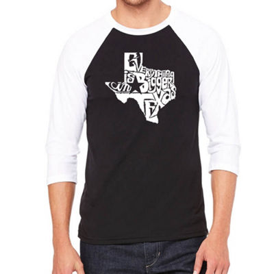 Los Angeles Pop Art Men's Raglan Baseball Word Art T-shirt - Everything is Bigger in Texas