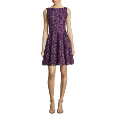 Danny & Nicole Sleeveless Floral Fit & Flare Dress-Petite