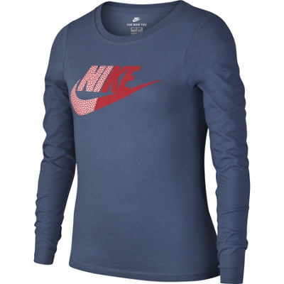 Nike Girls Crew Neck Long Sleeve Graphic T-Shirt-Big Kid Plus