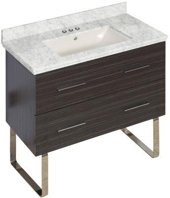 36-in. W Floor Mount Dawn Grey Vanity Set For 3H4-in. Drilling Bianca Carara Top Biscuit UM Sink