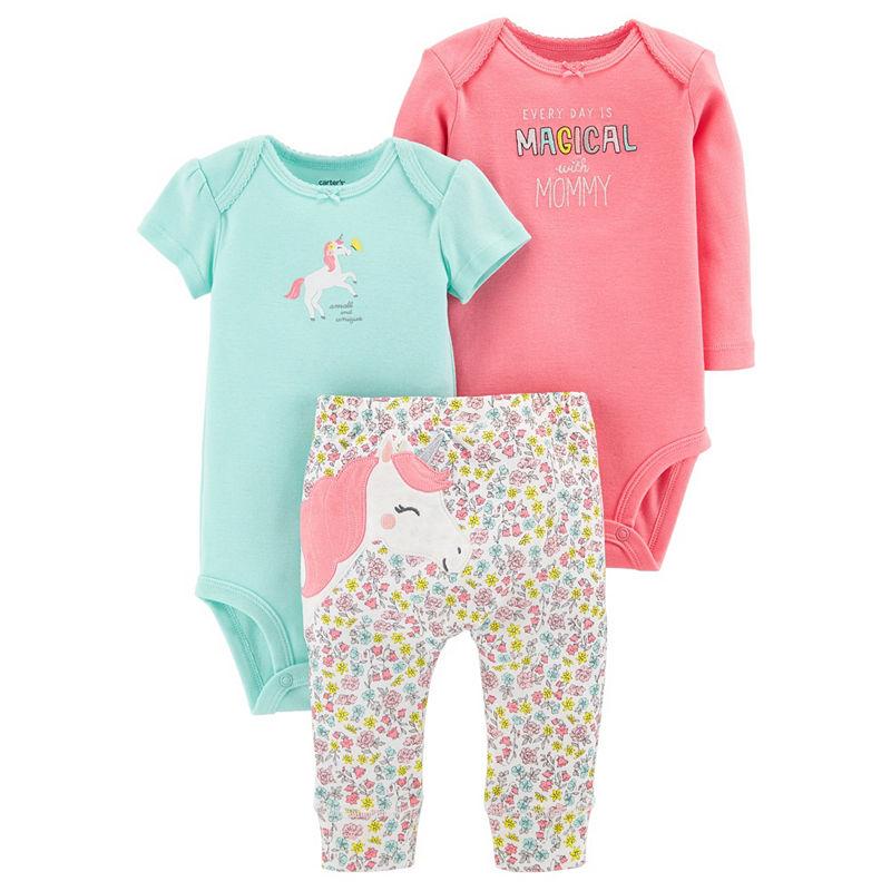 Carters Little Baby Basics 3-pc. Layette Set-Girls, 9 Months, Mint Unicorn