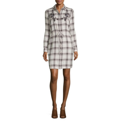 a.n.a Long Sleeve Embroidered Shirt Dress - Tall