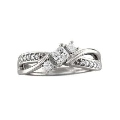 Love Lives Forever Womens 3/8 CT. T.W. White Diamond 14K White Gold 3-Stone Ring