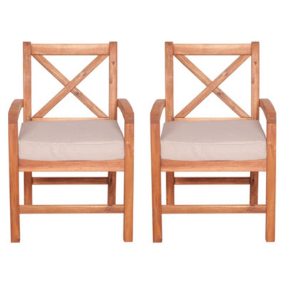 X-Back Acacia Wood Set of 2 Patio Dining Chairs with Cushions