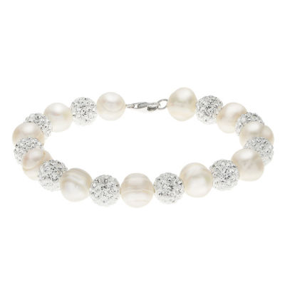 White Cultured Freshwater Pearl Sterling Silver Beaded Bracelet