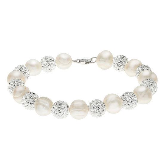 White Cultured Freshwater Pearl Sterling Silver Beaded Bracelet