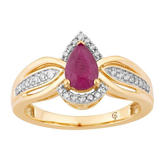 Womens 1/7 CT. T.W. Lead Glass-Filled Red Ruby 10K Gold Cocktail Ring
