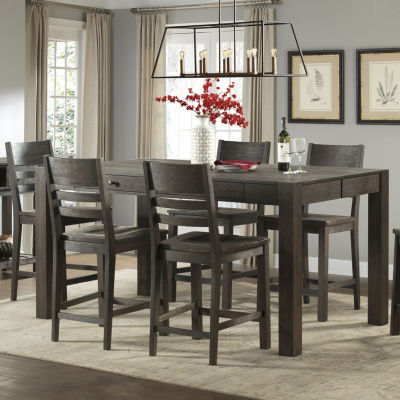 Salem 7-Pc Counter Height Gathering Table Dining Set