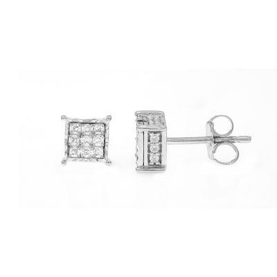 1/2 CT. T.W. Genuine White Diamond 10K White Gold Stud Earrings