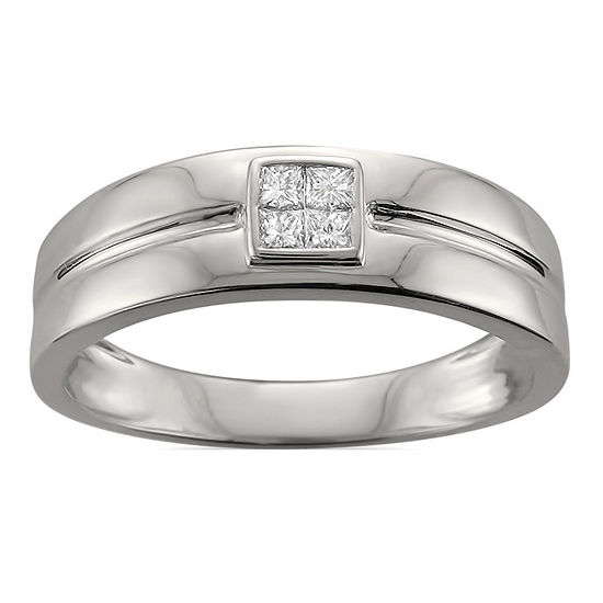Mens 6.5MM 1/4 CT. T.W. Genuine White Diamond 14K White Gold Wedding Band