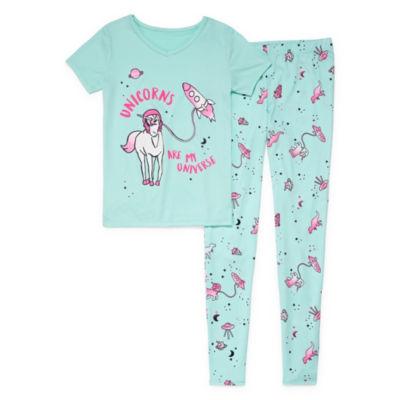Arizona 2pc Space Unicorn Tight Fit Pajama Girls 4-16