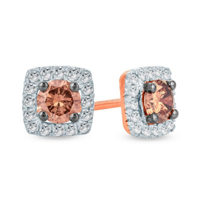 1/2 CT. T.W. Multi Color Diamond 10K Gold 5.8mm Stud Earrings