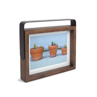 Umbra Axis Photo Display 5x7 Aged Walnut 2-Opening Tabletop Frame
