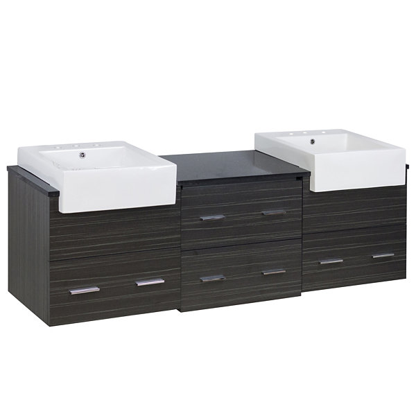 73.5-in. W Wall Mount Dawn Grey Vanity Set For 3H8-in. Drilling Black Galaxy Top