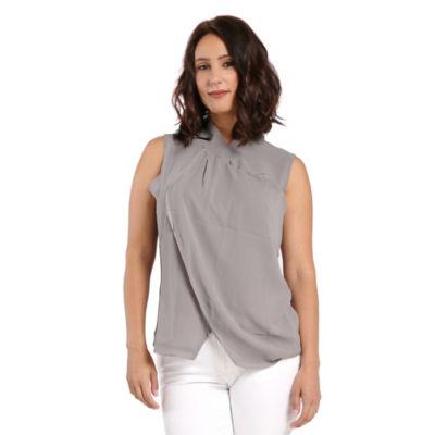 Womens Grey Twisted Collar Neckline Sleeveless Sheer Woven Blouses