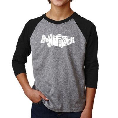 Los Angeles Pop Art Boy's Raglan Baseball Word Art T-shirt - Bass - Gone Fishing