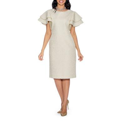 Giovanna Collection Women's Lotus Leaf Sleeve Brocade Shift Dress - Plus