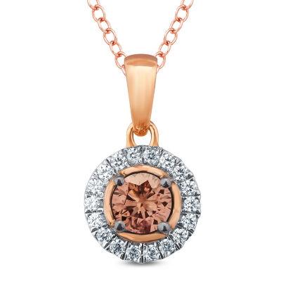 Womens 1/4 CT. T.W. Multi Color Diamond 10K Gold Pendant Necklace