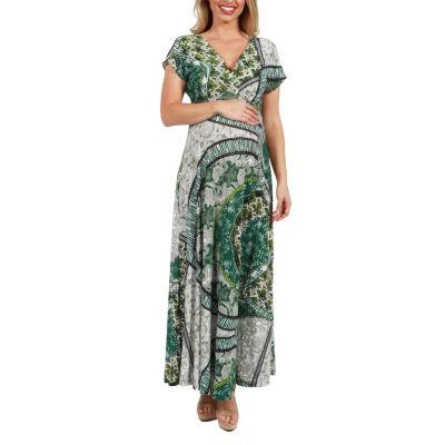24Seven Comfort Apparel Lena Print Empire Waist Maternity Maxi Dress - Plus