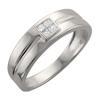 Mens 6.5mm 1/4 CT. T.W. White Diamond 14K White Gold Wedding Band