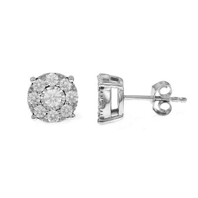 1 CT. T.W. Genuine White Diamond 10K White Gold Stud Earrings