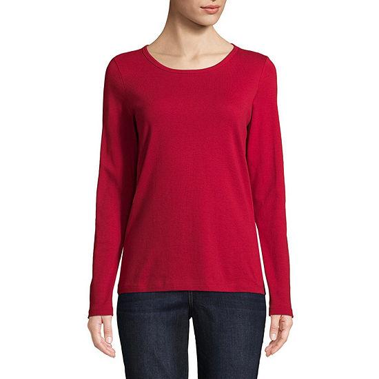 St. John's Bay Tall-Womens Crew Neck Long Sleeve T-Shirt