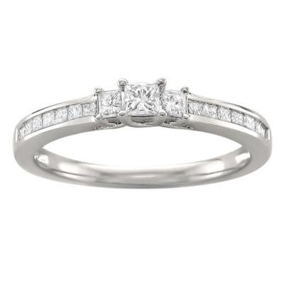 Love Lives Forever Womens 1/2 CT. T.W. White Diamond 14K White Gold 3-Stone Ring