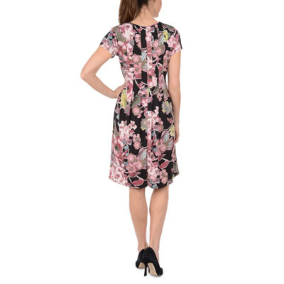 NY Collection Fit and Flare Pleated Dress - Petites