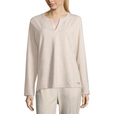Copper Fit Womens Knit Pajama Top Fitted Sleeve Henley Neck