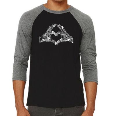 Los Angeles Pop Art Men's Raglan Baseball Word Art T-shirt - Finger Heart