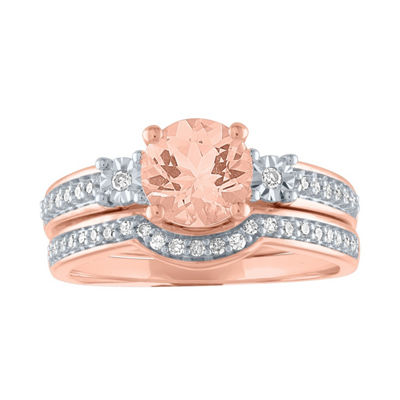 Modern Bride Gemstone Womens Genuine Pink Morganite &  1/5 CT. T.W. Diamond 10K Rose Gold Bridal Set