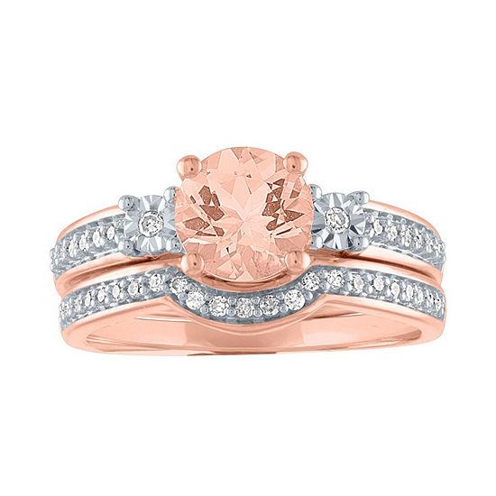 Modern Bride Gemstone Womens Genuine Pink Morganite &  1/5 CT. T.W. Diamond 10K Rose Gold Bridal Set