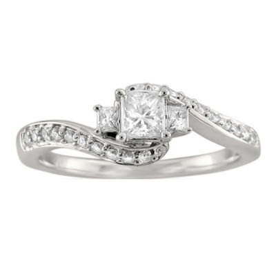 Love Lives Forever Womens 1/2 CT. T.W. White Diamond 14K White Gold 3-Stone Engagement Ring