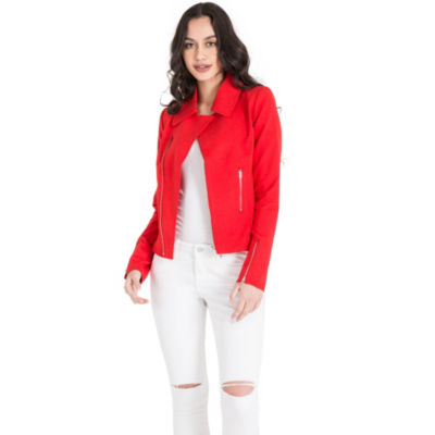 Red Asymmetric Zip Blazer Jacket