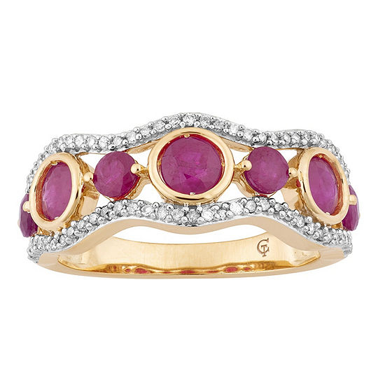 Womens 1 5 Ct Tw Lead Glass Filled Red Ruby 10k Gold Cocktail Ring