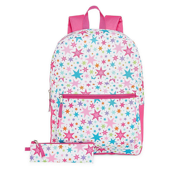 White Rainbow Star Backpack with Pencil Case