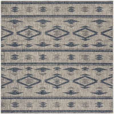 Safavieh Courtyard Collection Easton Geometric Indoor/Outdoor Square Area Rug
